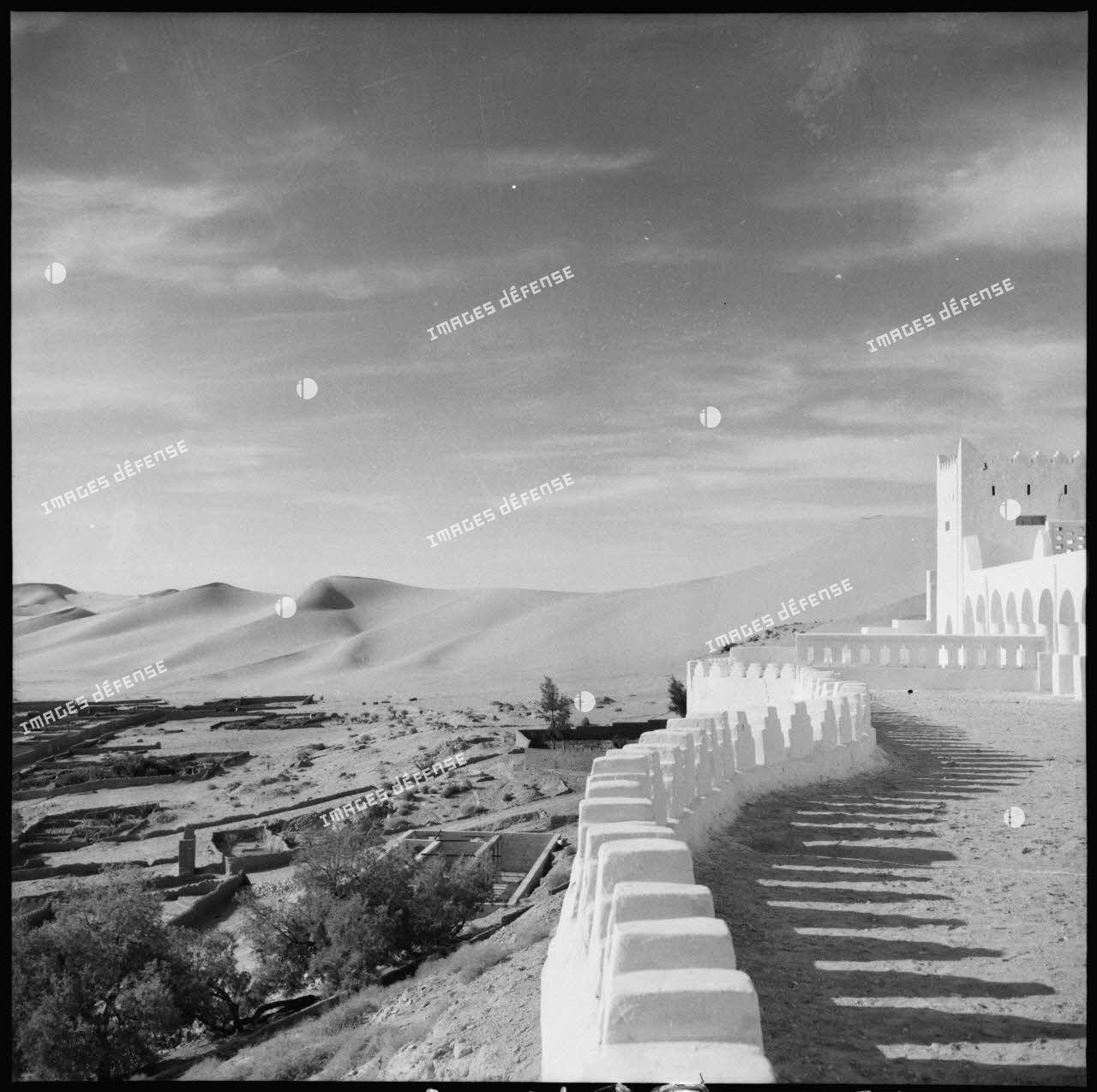 Le fortin de Beni Abbes : les dunes vues de la palmeraie.