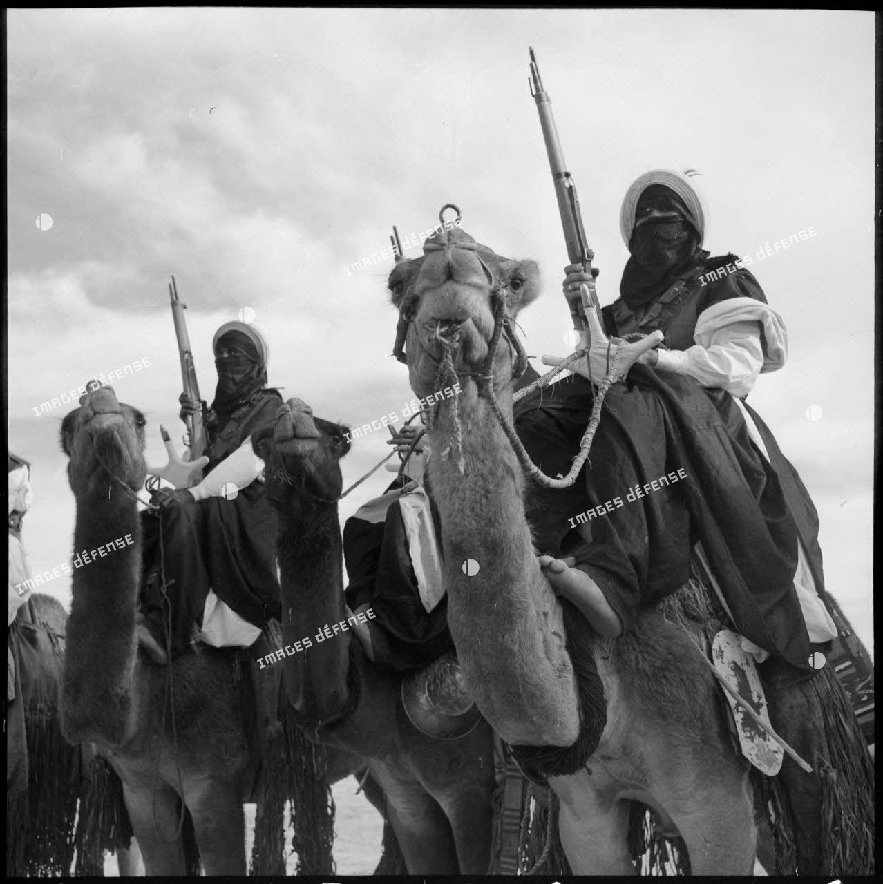 Touaregs du 2e peloton monté de la compagnie méhariste du Tassili (CMT) sur leurs dromadaires au Fort Tarat.