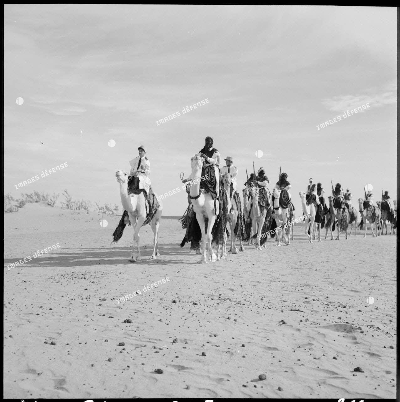 Défilé du 1er peloton monté de la compagnie méhariste du Tassili (CMT) dans la région du Tassili n'Ajjer.