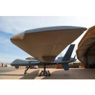 Prise de vue technique d'un drone MALE (moyenne altitude longue distance) de reconnaissance General Atomics MQ-9 Reaper, mis en oeuvre par le détachement drône français de l'escadron 1/33 Belfort, sur la base aérienne de Niamey. Vue latérale.