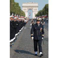 Inspection des équipages sous-mariniers avant le défilé du 14 juillet 2018 à Paris.