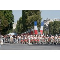 Défilé de la musique de la Légion étrangère sur les Champs-Elysées, lors du défilé militaire du 14 juillet 2018 à Paris.
