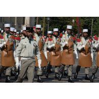 Défilé des pionniers de la Légion étrangère sur les Champs-Elysées, lors du défilé militaire du 14 juillet 2018 à Paris.