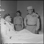 Le général Cogny, commandant en chef des FTNV (forces terrestres du Nord-Vietnam), converse avec un capitaine d'un BMI (bataillon de marche indochinois).