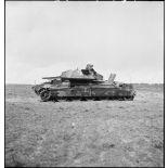 Epave d'un char britannique Crusader Mk III sur le champ de bataille de Kasserine.