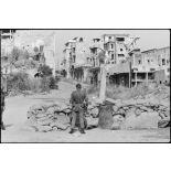 Poste de contrôle dans le port de Beyrouth.