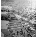 Tourelles d'artillerie principale du cuirassé (ou navire de ligne) le Dunkerque.