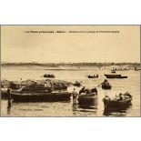 1. Le Maroc pittoresque. - Rabat. - Barcasses pour le passage de l'Oued Bou-Regreg. [légende d'origine]